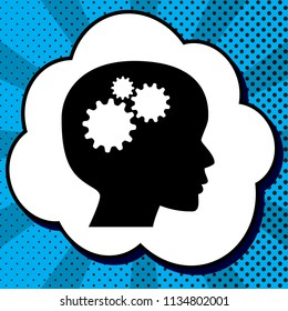 Thinking head sign. Vector. Black icon in bubble on blue pop-art background with rays.