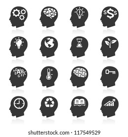 Thinking Heads Icons. vector eps 10