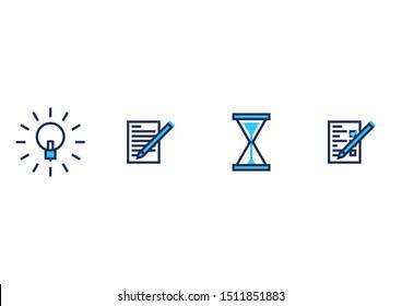 Thinking Icon Set - Idea, Notes, Time, Tasks