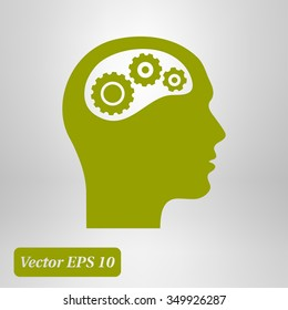 Thinking icon.  Silhouette of gear in head