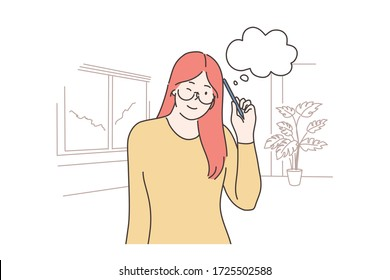 Thinking, idea, problem, search concept. Young smiling thoughtful woman girl cartoon character thinking about decision or dreaming. Searching for idea, problem or trouble solution or brainstorming.