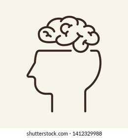 Thinking line icon. Human head with open brain. Brainwork concept. Vector illustration can be used for topics like human mind, intelligence, mental work