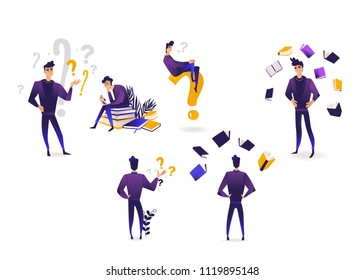 Thinking and making choice young man set in trendy violet gradient color isolated on white background - cartoon male character choosing surrounded by question marks and books.