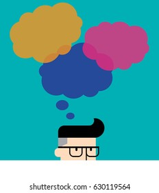 Thinking man with thinking colorful bubbles on background. Flat style vector illustration EPS 10.