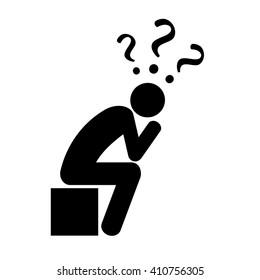 Thinking man illustration isolated on white background