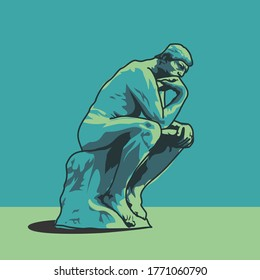 Thinking man statue illustration Auguste Rodin's The Thinker