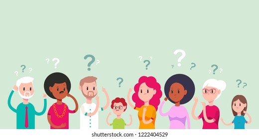 Thinking men, women and children character. Puzzled and confused people with a question mark vector cartoon illustration isolated on background.