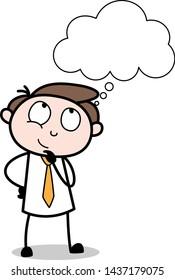Thinking - Office Businessman Employee Cartoon Vector Illustration
