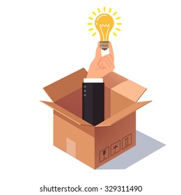 Thinking out of the box concept. Hand in business suit sticking from cardboard packing and holding lightbulb symbolizing new idea. Flat style vector illustration isolated on white background.