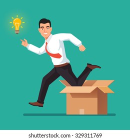 Thinking out of the box concept. Happy businessman jumping from carton towards new idea in form of glowing light bulb. Flat style vector illustration isolated on white background.