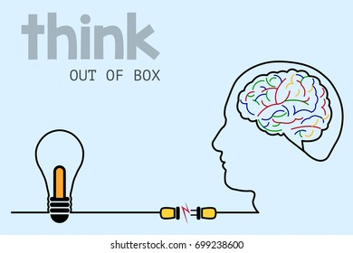 Thinking out of box an ideas concept, business idea, innovation and solution. Vector eps 10.