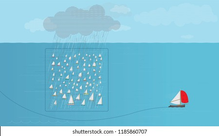 Thinking outside the Box, Boat with red sail manoeuvres to avoid rain cloud, Fleet of sailboats, Vector Illustration, Thinking outside the box, concept, Victory, Avoiding the crowd, Individuality wins