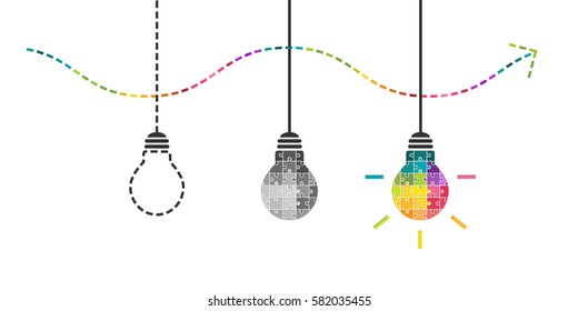 Thinking, perseverance and success concept with lightbulb made of colorful puzzle pieces
