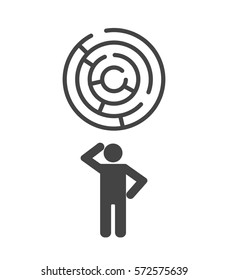 thinking person with maze icon