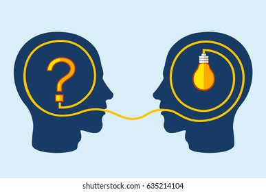 Thinking and problem solving concept with two heads one with question mark another with light bulb