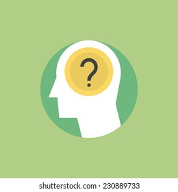 Thinking process, brainstorming and generates new ideas, question mark in the head. Flat icon modern design style vector illustration concept.