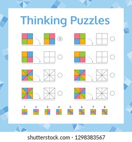 Thinking Puzzles Educational Game.  Logical Thinking Skills Game. Vector illustration.