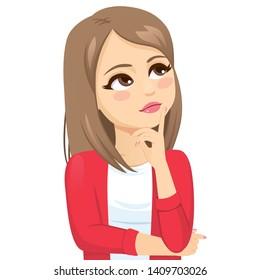 Denkende Teenagerin mit glatter blonder Frisur, die einzeln auf weißem Hintergrund aussieht