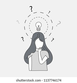Thinking woman doodle style isolated on gray background. Woman deep in thought. For web site, wallpaper and placard. Useful for backdrop, poster and banner. Creative art concept, vector illustration