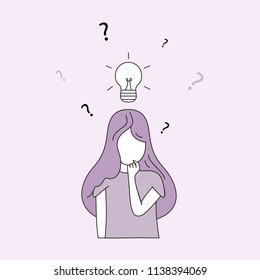 Thinking woman doodle style isolated on pink background. Woman deep in thought. For web site, wallpaper and placard. Useful for backdrop, poster and banner. Creative art concept, vector illustration