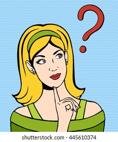Thinking woman looking up. Hand drawn illustration of dreaming woman. Vector illustration in comic style. Girl with a question mark