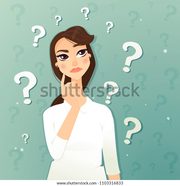 Thinking woman. With a question mark. Vector illustration.