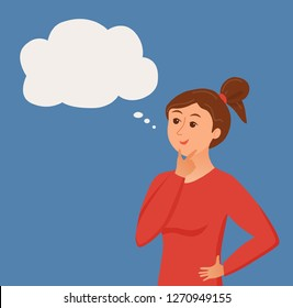 Thinking woman with speech bubble. Vector illustration of pretty face young girl puzzled with problem looking around. Cartoon design male person have an idea, wondering for decision, smiling.