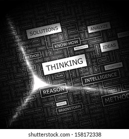 THINKING. Word cloud illustration. Tag cloud concept collage. Vector text conceptual illustration.