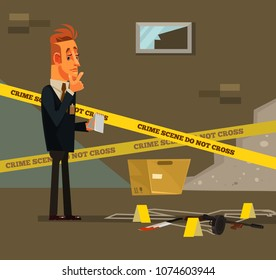 Thinking young modern detective character at crime scene near dead body white line. Criminal investigate police inspector concept. Vector flat cartoon illustration