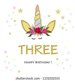 Third birtday candle. Three. Unicorn Birthday invitation. Party invitation greeting card