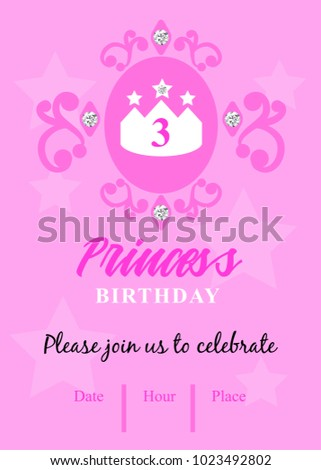 third birthday party invitation princess birthday stock vector