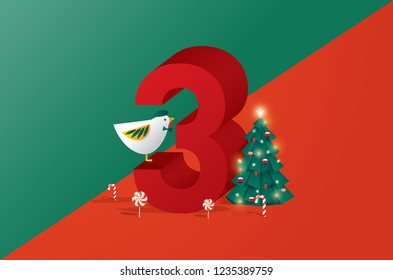 the third day of christmas of the twelve days of Christmas/advent calendar greetings template vector/illustration