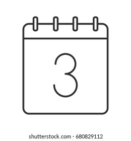 Third day of month linear icon. Thin line illustration. Calendar with 3 sign. Date contour symbol. Vector isolated outline drawing