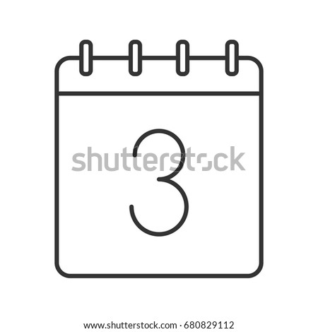 Third Day Month Linear Icon Thin Stock Vector Royalty Free