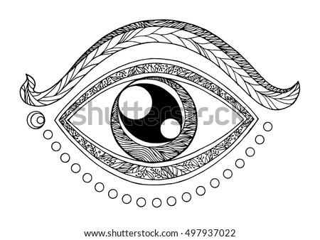 Third Eye Chakra Symbol Drawing Design Stock Vector Royalty Free