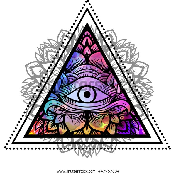 Third eye with floral mandala inside the triangle. Zentangle hand drawing Boho style. For adult coloring book and meditation relax. Watercolor, chalk, pastels, pencils texture. T-shirt design. Vector