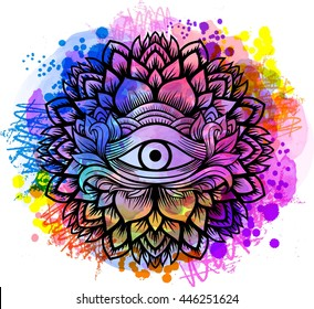 Third eye with floral mandala zentangle hand drawing line art Boho chic style.