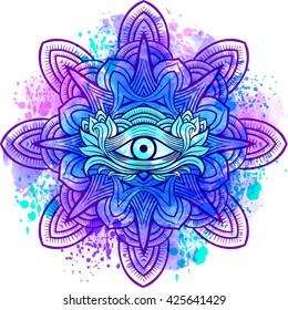 Third eye with mandala zentangle hand drawing style. Best for adult coloring book and meditation relax