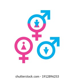 Third gender icon. Transgender unisex vector symbol, female, male and neutral gender sign, venus and mars pictogram, gender vector illustration