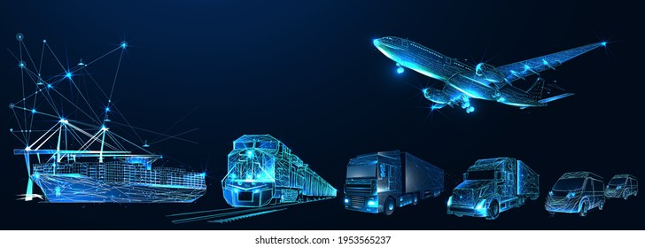 Logistik Dritter, 3pl, Transport, Frachtexport, Import. Integrierter Lager- und Transportbetrieb. Luft-, Straßen- und Seeverkehr. Digitale Polygonal-Low-Poly-3D-Mesh-Illustration