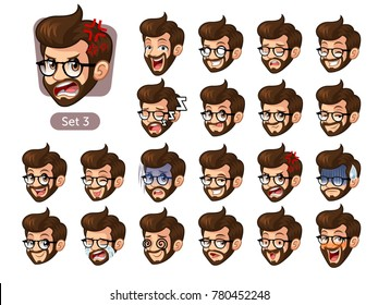 The third set of bearded hipster facial emotions cartoon character design with glasses and different expressions, cry, sleep, pissed of, embarrassed, fear, triumph, confused, fear, etc. vector.