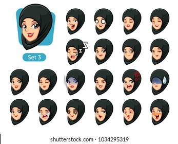 The third set of muslim woman wearing a black hijab cartoon character avatars with different facial emotions and expressions, cry, sleep, pissed of, embarrassed, fear, triumph, confused, fear, etc.
