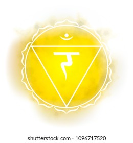 Third, solar plexus chakra - Manipura. Illustration of one of the seven chakras. The symbol of Hinduism, Buddhism. Yellow watercolor fog on background.