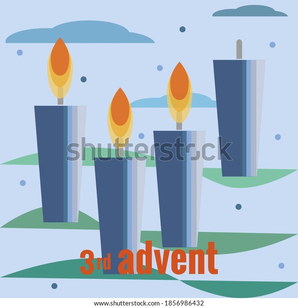 Third Sunday of Advent. Four candles, three lighted candles, snow, clouds, branches of Christmas tree. Vector illustration in flat style. Christmas countdown, for social networks, banners.