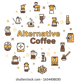 Third wave alternative coffee color icon set. Editable stroke. Coffee makers, brew methods. For modern restaurants and cafes menu. Roasting beans, preparing and brewing.