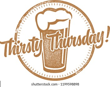 Thirsty Thursday Happy Hour Stamp