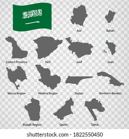 Thirteen Maps Regions of Saudi Arabia - alphabetical order with name. Every single map of  Region Saudi Arabia  are listed and isolated with wordings and titles.  EPS 10.