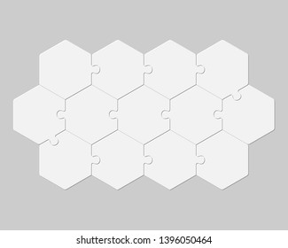 Thirteen pieces puzzle hexagonal diagram. Hexagon business presentation infographic. 13 steps, parts, pieces of process diagram. Section compare banner. Jigsaw puzzle info graphic. Marketing strategy.