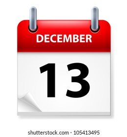 Thirteenth in December Calendar icon on white background