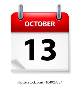 Thirteenth October in Calendar icon on white background